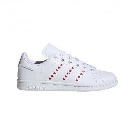 ADIDAS originals sneakers stan smith gs bianco rosso bambino