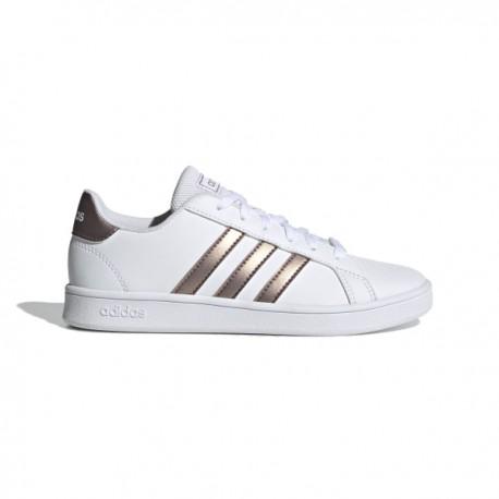 ADIDAS sneakers grand court k bianco oro bambino