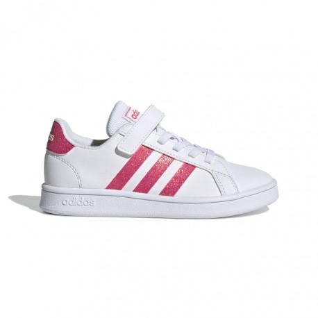 ADIDAS sneakers grand court c bianco rosa bambino