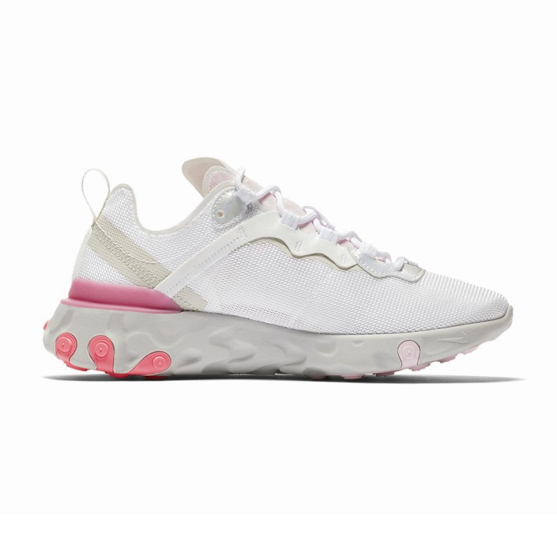 Nike Sneakers React Element 55 Bianco Rosa Donna