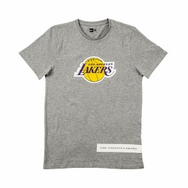 New Era T-Shirt Block Wordmark Los Angeles Grigio Giallo Uomo
