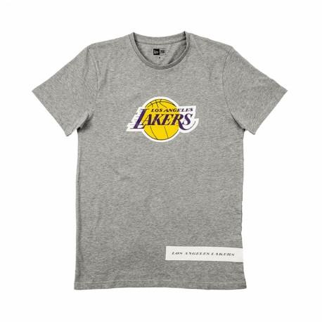 New Era T-Shirt Block Wordmark Los Angeles Grigio Giallo Uomo