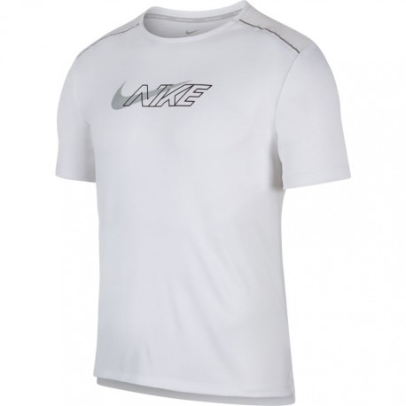 Nike Maglia Running Manica Corta Miler Flash Bianco Uomo