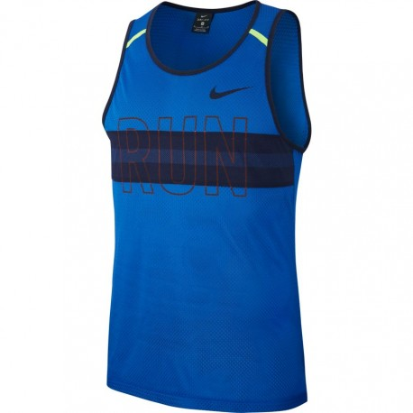 Nike Canotta Running Wild Run Blu Uomo