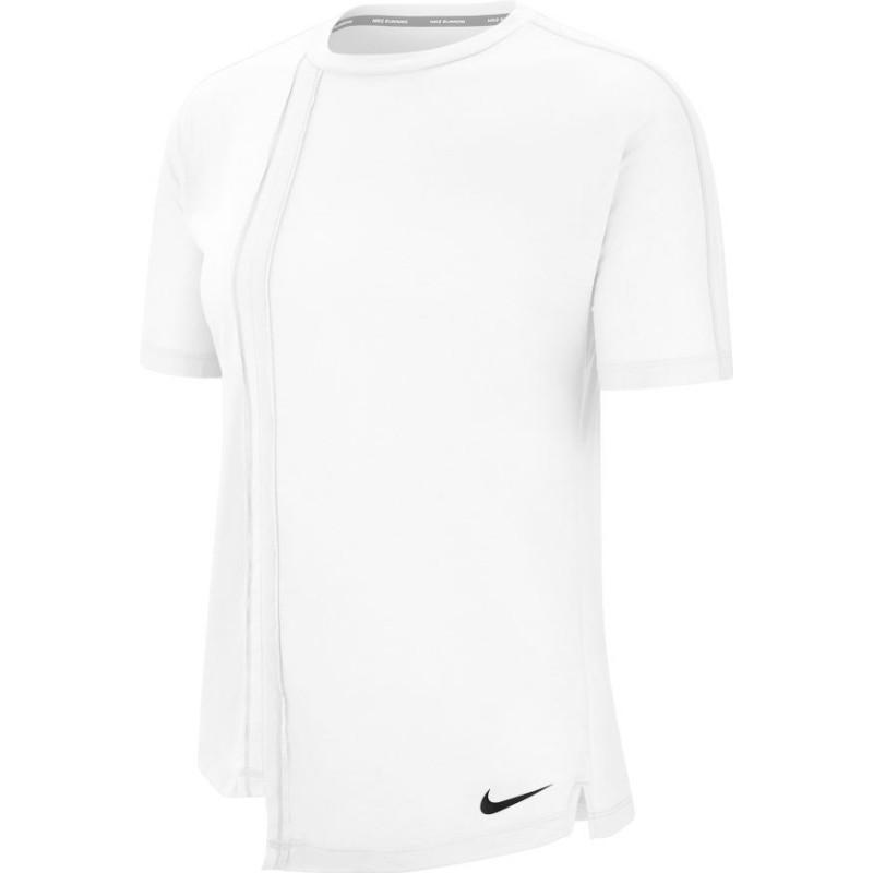 Nike Maglia Running Manica Corta Rebel Bianco Nero Donna