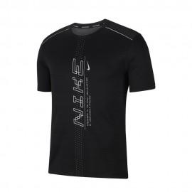 Nike Maglia Running Dry Miler Ff Nero Grigio Uomo