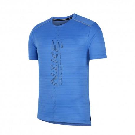 Nike Maglia Running Dry Miler Ff Pacific Blue Nero Uomo