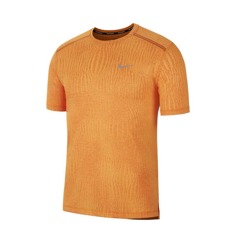 Nike Maglia Running Dry Miler Jacquard Arancio Uomo
