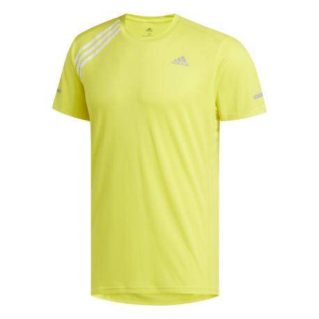 ADIDAS maglia running 3 stripe giallo bianco uomo