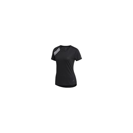 ADIDAS maglia running 3 stripes nero donna