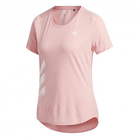 ADIDAS maglia running 3 stripes pb rosa donna