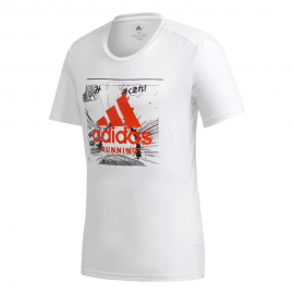 ADIDAS maglia running fast gfx bianco uomo