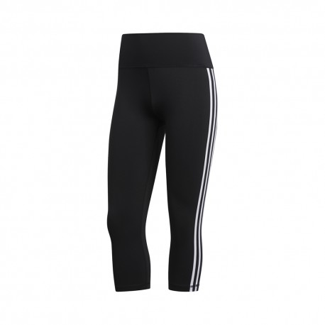 ADIDAS leggings sportivi 3/4 3 stripes nero donna