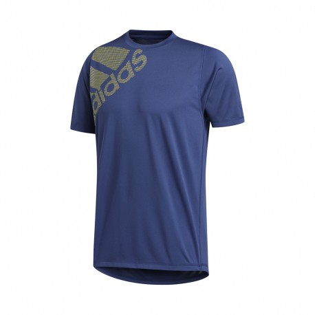 ADIDAS maglietta palestra big logo blu uomo