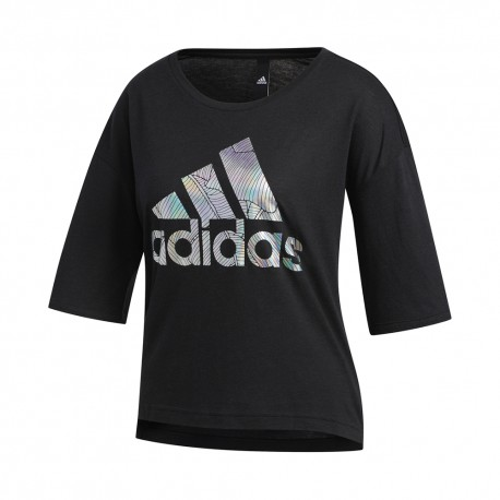 ADIDAS maglietta palestra crop top logo lilla donna
