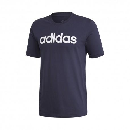ADIDAS maglietta palestra essentials logo blu uomo