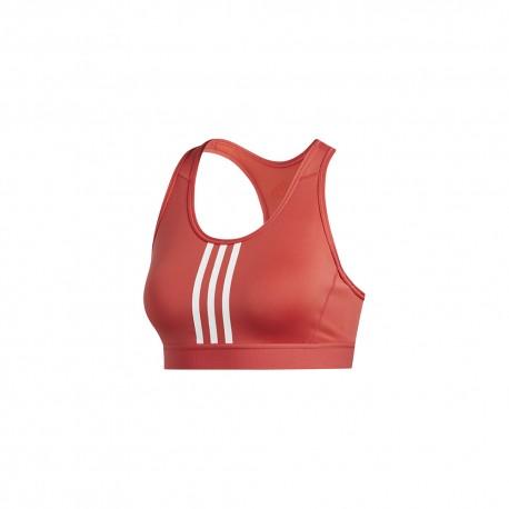ADIDAS reggiseno sportivo 3 stripes rosso donna