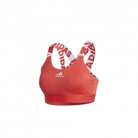ADIDAS reggiseno sportivo logo train rosso donna