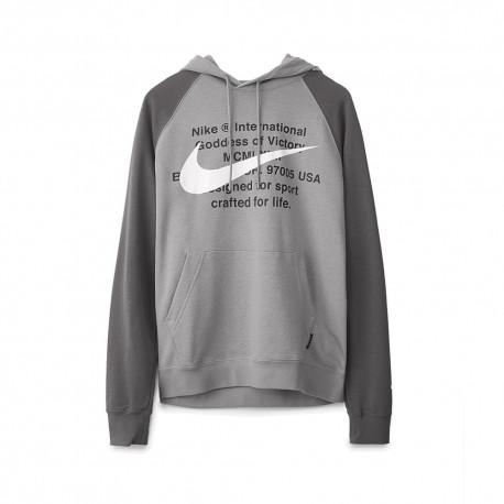 Nike Felpa Cappuccio Logo Swoosh Grigio Uomo