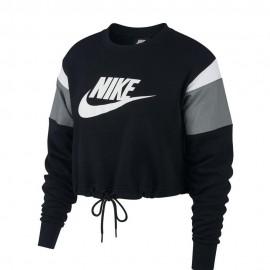 Nike Felpa Crop Top Logo Girocollo Nero Donna