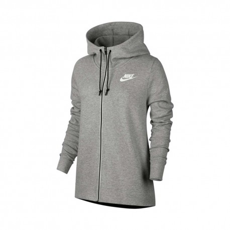 Nike Felpa F Zip E Cappuccio Tech Fleece Grigio Donna