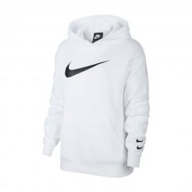 Nike Felpa Logo Cappuccio Bianco Donna