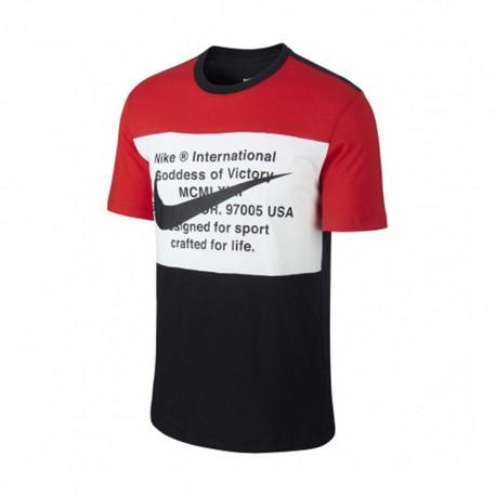 Nike T-Shirt Bicolor Swoosh Rosso Uomo