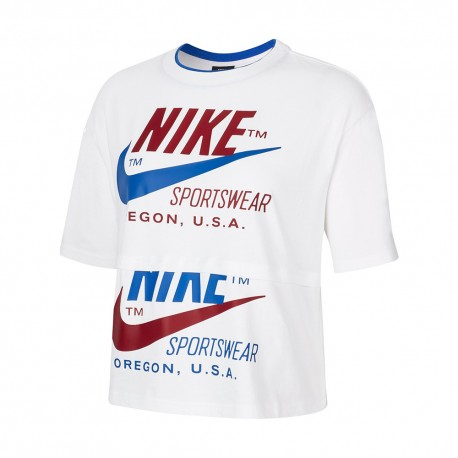 Nike T-Shirt Crop Top Icon Clash Bianco Donna