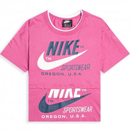 Nike T-Shirt Crop Top Fuxia Donna