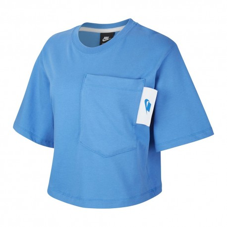 Nike T-Shirt Crop Top Nsw Blu Donna