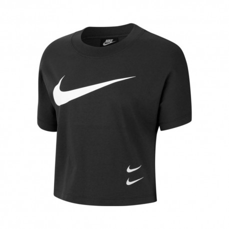 Nike T-Shirt Logo Swoosh Nero Donna