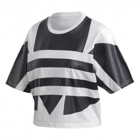 ADIDAS originals t-shirt crop top big logo bianco donna