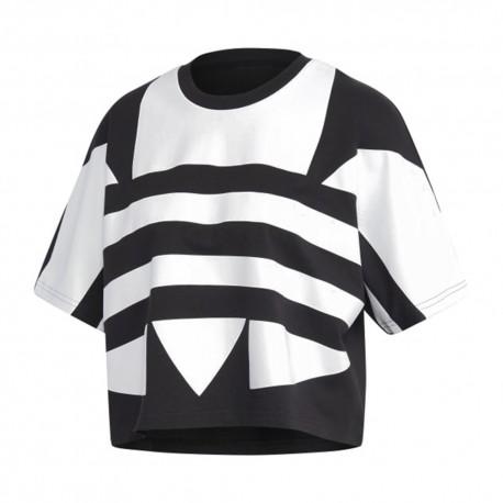 ADIDAS originals t-shirt crop top big logo nero donna