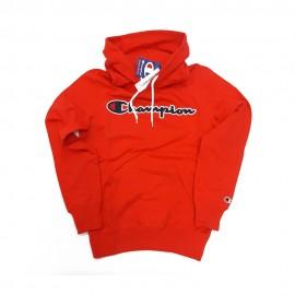 Champion Felpa Con Cappuccio Logo Rosso Uomo