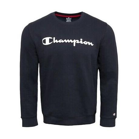 Champion Felpa Girocollo Logo Blu Uomo