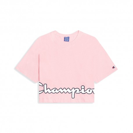 Champion T-Shirt Crop Top Girocollo Rosa Donna
