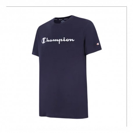 Champion T-Shirt Girocollo Logo Blu Uomo