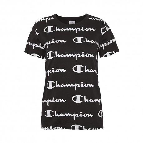 Champion T-Shirt Multilogo Nero Donna