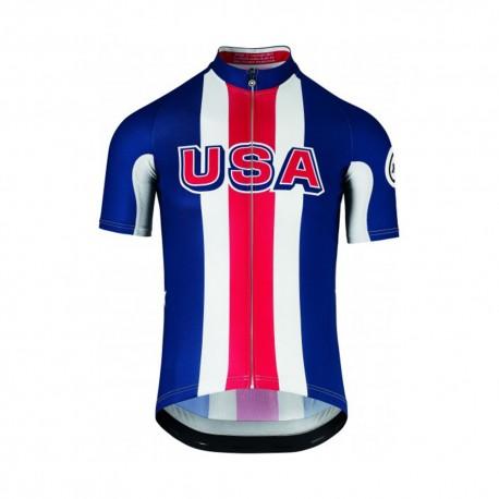 Assos Maglia Ciclismo Usa Blu Rosso Uomo