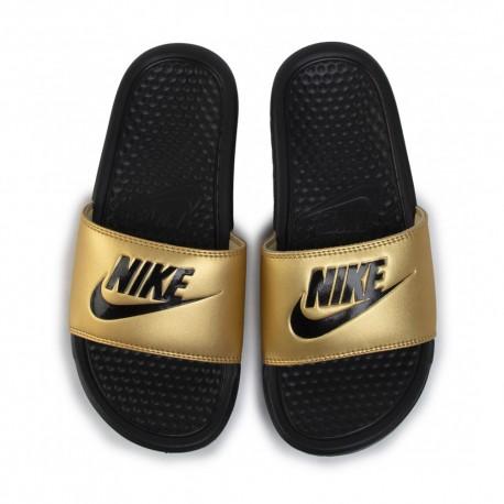 Nike Ciabatte Mare A Fascia Logo Oro Donna