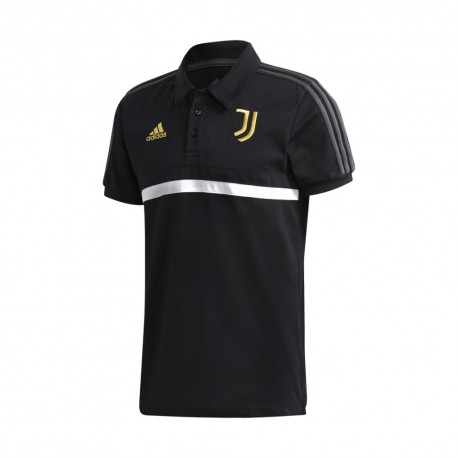 Adidas Polo Calcio Juve 3 Stripes Nero Bianco Uomo