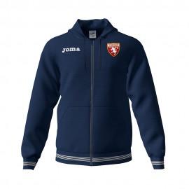 Joma Sport Felpa Calcio C/Capp Zip Torino Free Time Blu Uomo