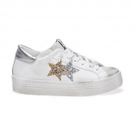 2star Sneakers Low High Sole Bianco Argento Oro Donna