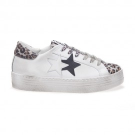 2star Sneakers Low High Sole Bianco Maculato Donna