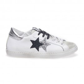 2star Sneakers Low Lea Suede Bianco Nero Argento Donna
