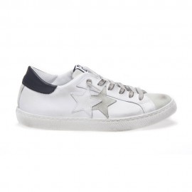 2star Sneakers Low Lea Suede Bianco Nero Uomo
