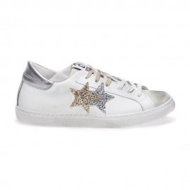 2star Sneakers Low Lea Suede Bianco Oro Argento Donna