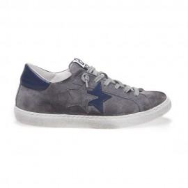 2star Sneakers Low Lea Suede Grigio Blu Uomo
