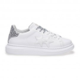 2star Sneakers Princess Bianco Argento Glitter Donna