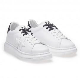 2star Sneakers Princess Bianco Nero Glitter Donna